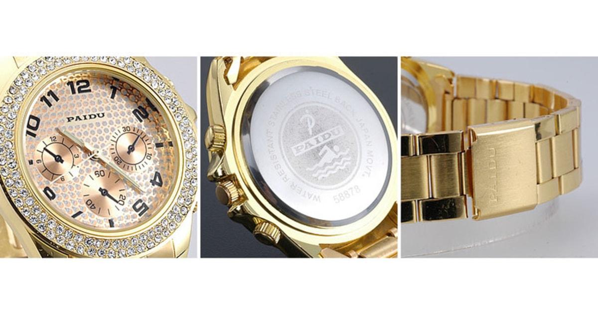 VIPhair.cz - Luxusní hodinky s krystaly Swarovski Elements - zlaté - Hodinky  - MÓDNÍ DOPLŇKY 31d64b7b3c