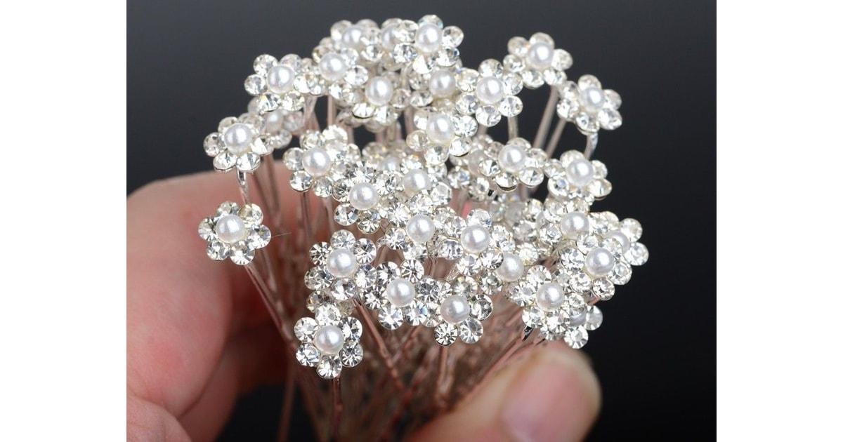 cbbe6c29ac4 VIPhair.cz - Ozdobné vlásenky Flower Pearl - 10ks - SVATEBNÍ A PLESOVÉ  DOPLŇKY