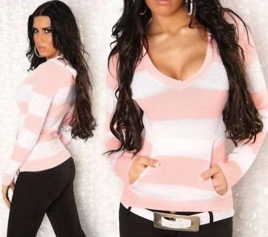 Dámský svetřík s kapsou a kapucí - pink/white