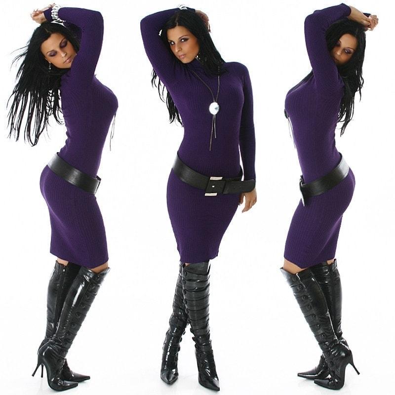 Dámské úpletové šaty - violet