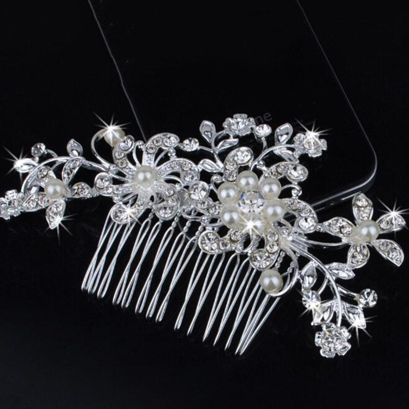 5744dc71799 VIPhair.cz - Luxusní vlásenka na hřebínku - Flower   Pearl - Vlasové ...