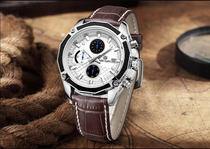 VIPhair.cz - Pánské stylové hodinky MEGIR Classic Chrono - brown ... f8b64e580b