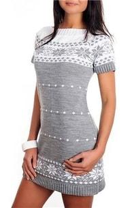 ef522f490b8 VIPhair.cz - Dámské pletené šaty s norským vzorem - grey - Sukně ...