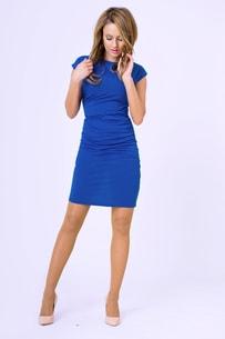 ccc665d11ea VIPhair.cz - Dámské luxusní nařasené šaty - modrá - Sukně