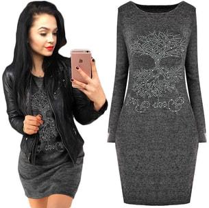 d42d35355398 VIPhair.cz - Dámské šaty s kamínky - Grafit - Sukně