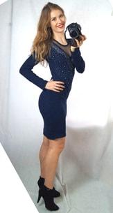 5892fc04db1e VIPhair.cz - Luxusní šaty s kamínky - blue - Sukně