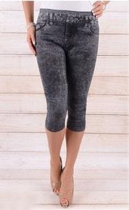 d0d45be3fa6 VIPhair.cz - Dámské 3 4 legíny - imitace jeans - vzor 1 - black - Legíny ...